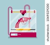 3d printing a revolver model ...   Shutterstock .eps vector #1069329200