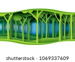 green abstract nature forest... | Shutterstock .eps vector #1069337609