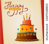 birthday cake vector card with... | Shutterstock .eps vector #1069338803
