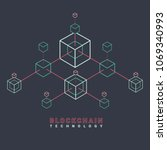 blockchain line icon logo... | Shutterstock .eps vector #1069340993