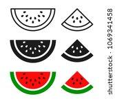 watermelon sliced ripe icon ... | Shutterstock .eps vector #1069341458