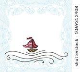 sea and ship. vector... | Shutterstock .eps vector #1069352408