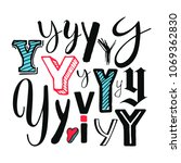 letters y set. different styles.... | Shutterstock .eps vector #1069362830