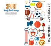 banner of sport balls and... | Shutterstock .eps vector #1069366334