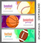 banners with sports balls  ... | Shutterstock .eps vector #1069366340