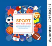banner of sport balls and... | Shutterstock .eps vector #1069366343