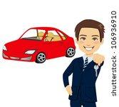 young automobile salesman... | Shutterstock .eps vector #106936910