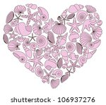 heart made of pink shells on... | Shutterstock .eps vector #106937276
