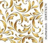 golden flowery pattern. floral... | Shutterstock .eps vector #1069376174