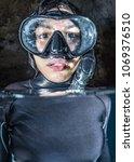 freediving girl portrait | Shutterstock . vector #1069376510