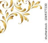 golden border. floral swirls... | Shutterstock .eps vector #1069377230