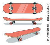 red skateboard from various... | Shutterstock .eps vector #1069381514