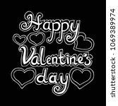 happy valentine day  hand... | Shutterstock .eps vector #1069389974
