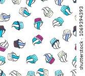 cupcake seamless pattern. cute... | Shutterstock .eps vector #1069394393