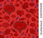 vector heart. swirls in orange  ... | Shutterstock .eps vector #1069394408