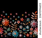 floral embroidery. seamless... | Shutterstock .eps vector #1069394603