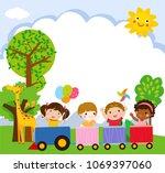 happy kids cartoon on a... | Shutterstock .eps vector #1069397060