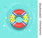 life buoy floating in swimming... | Shutterstock .eps vector #1069406948