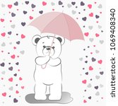 vector teddy bear. the bear... | Shutterstock .eps vector #1069408340