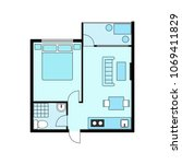 plan apartment  studio ... | Shutterstock .eps vector #1069411829