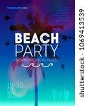 summer beach party poster...   Shutterstock .eps vector #1069413539