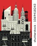 new york in style sketch.... | Shutterstock .eps vector #1069418243