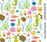 aquatic funny sea animals...   Shutterstock .eps vector #1069418570