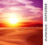 sunset in desert. beautiful... | Shutterstock . vector #1069420868