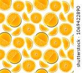 orange seamless pattern. fruit. ... | Shutterstock . vector #1069422890