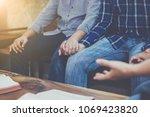 christian friends holding hands ... | Shutterstock . vector #1069423820