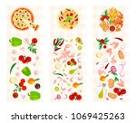 set of various food dishes and... | Shutterstock . vector #1069425263