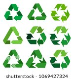 vector recycle signs | Shutterstock .eps vector #1069427324