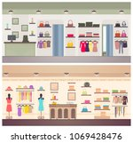 two designs of female clothing... | Shutterstock .eps vector #1069428476