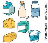 vector set of milk product | Shutterstock .eps vector #1069429583