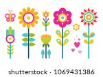 flowers collection in flat... | Shutterstock .eps vector #1069431386