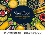 hand drawn fast food banner on... | Shutterstock .eps vector #1069434770