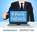 man pointing to fake news... | Shutterstock . vector #1069437116