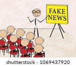 talking about fake news to... | Shutterstock . vector #1069437920