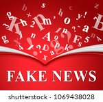 fake news letters floating from ... | Shutterstock . vector #1069438028