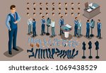 isometric vintage background  a ... | Shutterstock .eps vector #1069438529