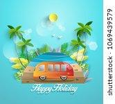 vector illustration in summer.... | Shutterstock .eps vector #1069439579