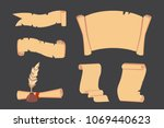 old paper scroll vector set.... | Shutterstock .eps vector #1069440623