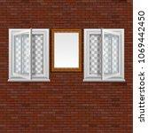 open windows in a brick wall... | Shutterstock .eps vector #1069442450