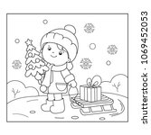 coloring page outline of girl... | Shutterstock .eps vector #1069452053