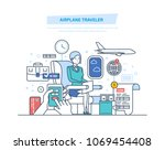 airplane traveler. tourism  air ... | Shutterstock .eps vector #1069454408