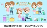 couple with summer vacation on... | Shutterstock .eps vector #1069460390