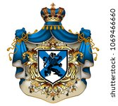 heraldic background with a blue ... | Shutterstock .eps vector #1069466660
