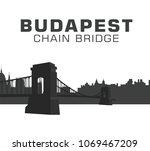chain bridge budapest  hungary | Shutterstock .eps vector #1069467209