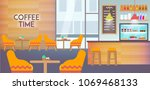 modern cafe interior empty with ... | Shutterstock .eps vector #1069468133
