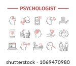 psychologist line icons set.... | Shutterstock .eps vector #1069470980